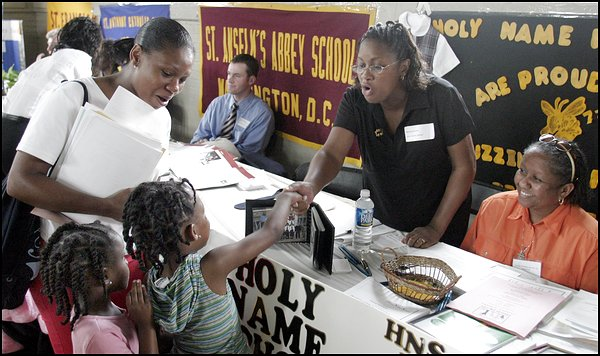 Families at a Washington Scholarship Fund school fair, June 2004